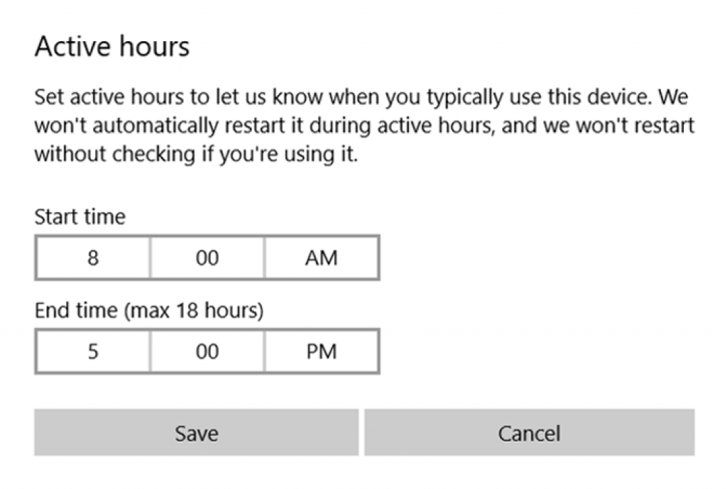 Optimize Windows 10 for Gaming using Setting Active Hours